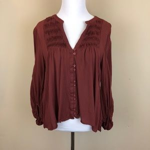 Anthropologie Maeve Pleated Button Up Blouse
